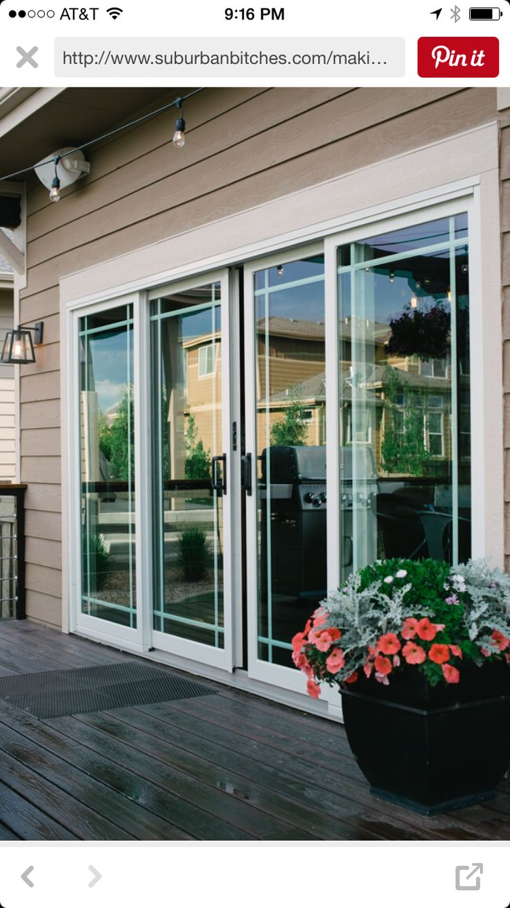 Upgrade back patio doors because they're off in measurements  More light for the house!