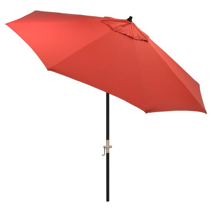 9' Round Sunbrella Umbrella - Jockey Red - Black Pole - Smith & Hawken