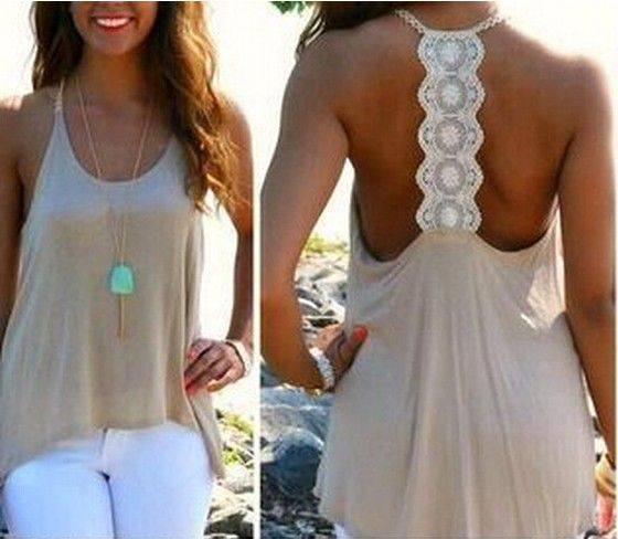 White Patchwork Hollow-out Lace Vest - Vests - Tops
