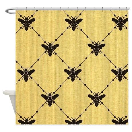Beautiful Burlap Bumble Bee Diamonds Shower Curtain On CafePress.com