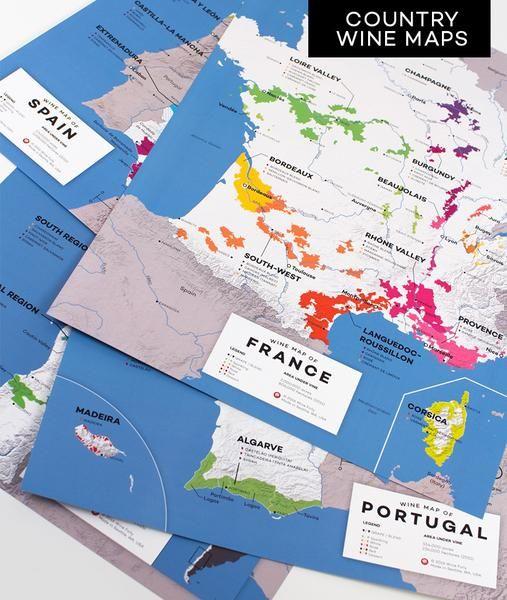 Maps Major Wine Countries Set Gifting etc