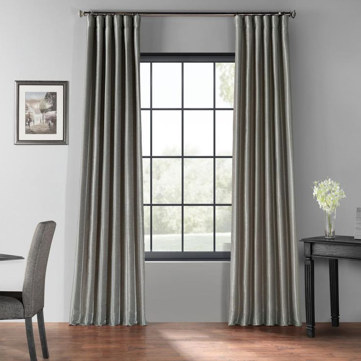 Exclusive Fabrics & Furnishings Silver Blackout Vintage Textured Faux Dupioni Curtain – 50 in. W x 108 in. L-PDCH-KBS9BO-108