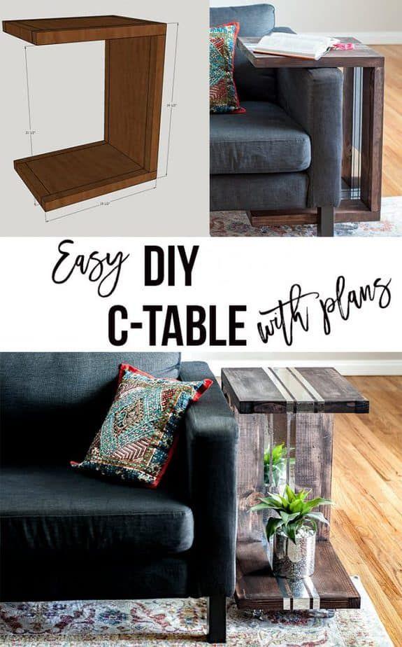 DIY C-Tisch mit Spiegelakzenten