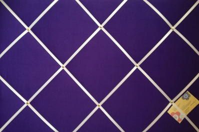 Large Purple with White Ribbon Hand Crafted Fabric Notice / Memory / Pin / Memo Board £24.99