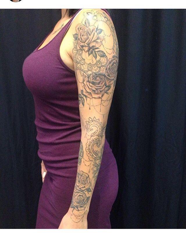 Mehndi inspired sleeve tattoo. Rose tattoo. Girl tattoo. Pretty tattoo. Girl sleeve tattoo. Girls with ink.