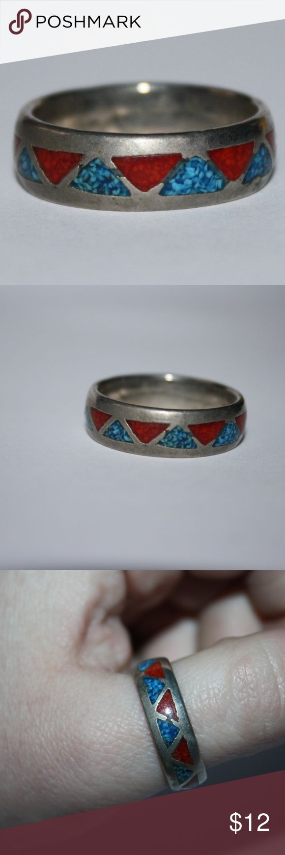 Nickel Silver band with turquoise and coral Nickel silver ring, size 11. beautiful coral and turquoise inlay.   Buy from me with confidence! I have sold over 100 items with a 5 star rating! If you have any questions, do not hesitate to ask.  Looking at a few things in my shop? Put a bundle together, comment on an item that you are ready to check out and let me send you an even better offer!  Thank you for visiting :) Free gifts with every purchase! Jewelry Rings