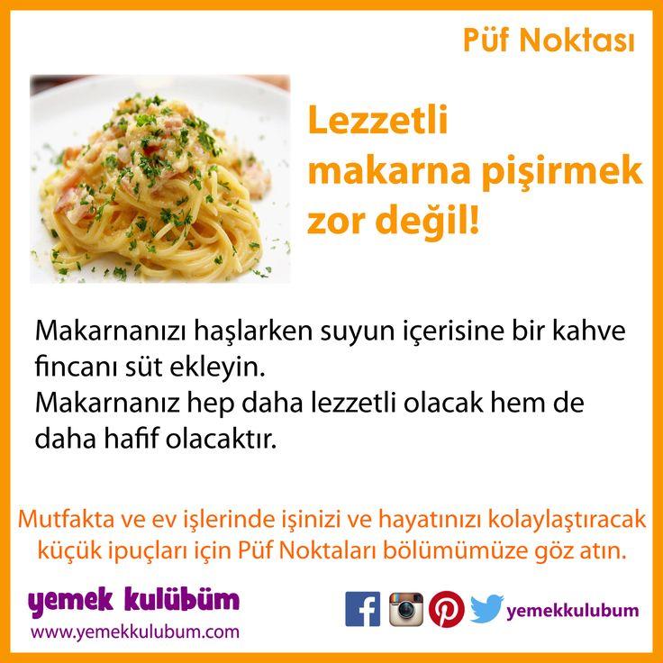 YEMEK YAPMANIN PÜF NOKTALARI : Lezzetli makara pişirmenin püf noktası nedir? http://yemekkulubum.com/puf-noktasi-liste/yemek-hazirlama-ile-ilgili-puf-noktalari #makarna #spagetti #makarnanasılyapılır #yemek #yemekhazırlama #yemekyapma #püfnoktası #püfnoktaları #pratikbilgiler #ipucu #ipuçları