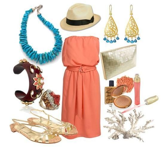 love the color comboCoral, Fashion, Beach Outfit, Summer Outfit, Style, Clothing, Turquoise Necklace, Beach Weddings, The Dresses
