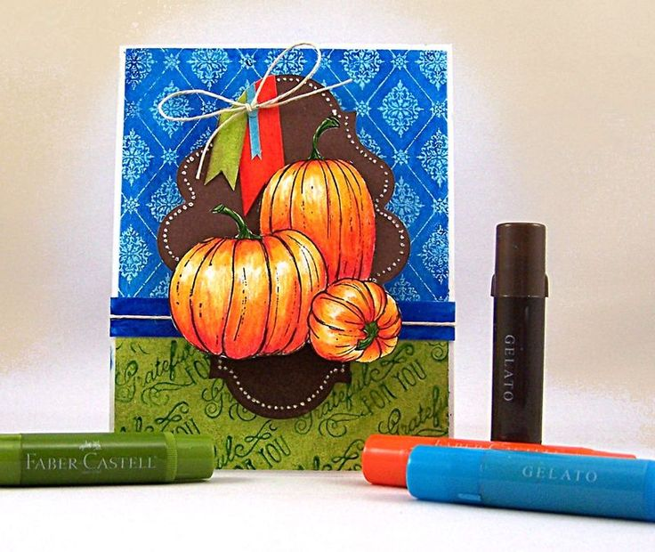 Jill Foster's beautiful Fall card using Art GRIP® Color Pencils and Gelatos™ .: Memory Crafts, Card Techniques, Color Pencils, Card Ideas Fall Thanksgiving, Fall Cards, Gelatos Alcohol, Cards Halloween, Craft Ideas, Gelato Crafts