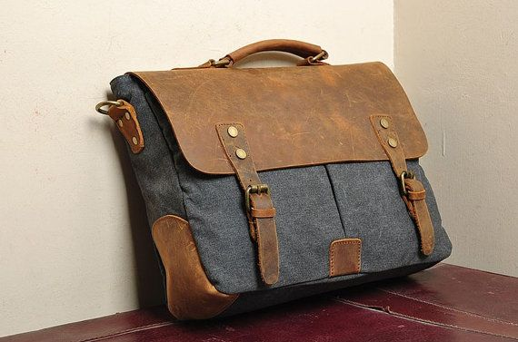 Dark gray Leather bag Genuine leather canvas bag/ by weiweihe, $49.99