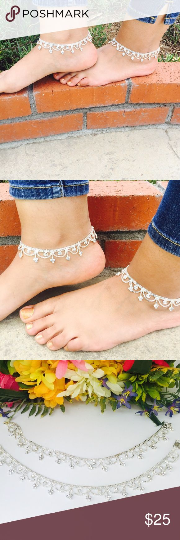 Silver anklet with rhinestones Beautiful silver anklet with rhinestones. Perfect for a day at the beach. Looks gorgeous with heels on a night out. Tags: anklet silver Indian Pakistani jewelry boho bohemian beach wedding formal Bollywood Jewelry