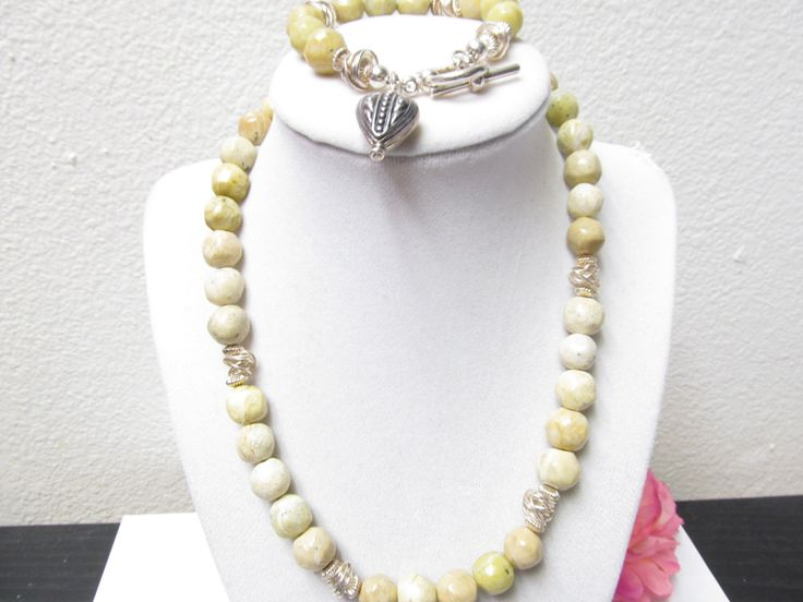 Handcut Green Jasper Bead Necklace & Bracelet Demi Parure Featuring a Bold use of 925 Silver Accents Signed DMD 925