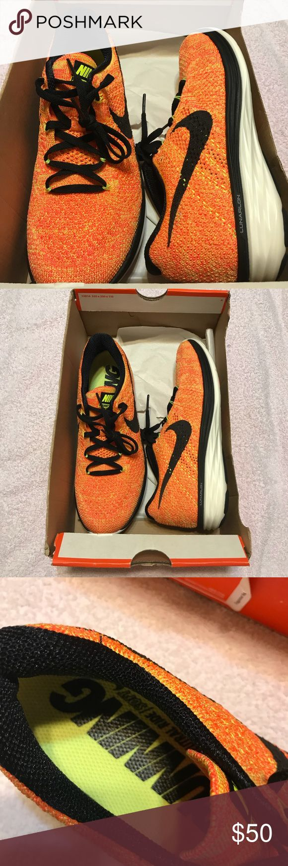 NEW! Rare NIKE Flyknit Lunar 3 Orange Shoes Sz 7.5 Authentic NIKE Flyknit Lunar in rare orange sherbet colorway. Size 7.5. Retail $150. New in box but box top is missing. Never worn never tried on (took home wrong size from trip out of state). Please ask all questions prior to purchase. No trades, lowball offers will be ignored. Thanks for looking! Nike Shoes Athletic Shoes