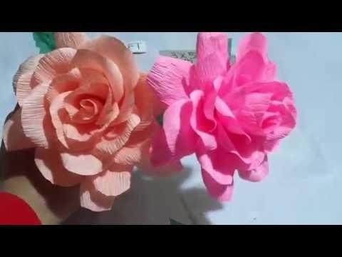 Cara Membuat Bunga Mawar Dari Kertas Krep Youtube Mawar Bunga Kertas
