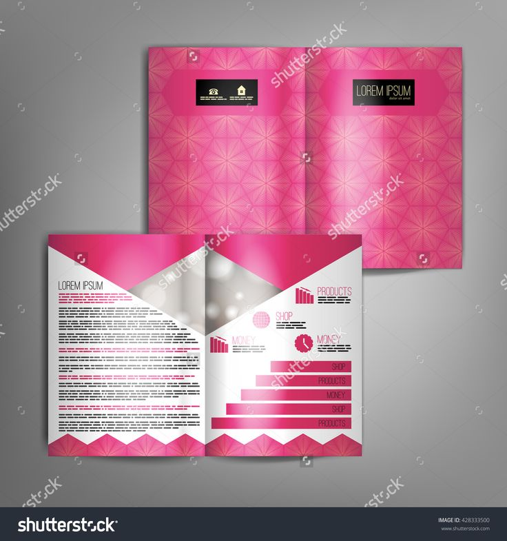 Pink business brochure design template with abstract pattern. Vector flyer layout, cover, poster design.