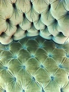 Sensuous celadon tufted velvet.
