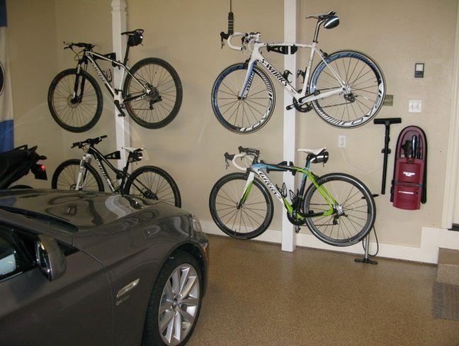 garage bike storage rack ideas Garage, ideas, man cave, workshop, organization, organize, home, house, indoor, storage, woodwork, design, tool, mechanic, auto, shelving, car.