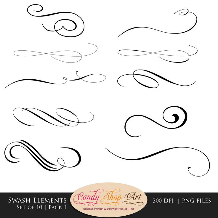 Swashes, Swirls, Calligraphy Swashes, Clip Art, Digital Clip Art, Vector, PNG…