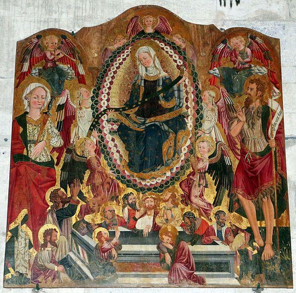 Pietro da Talada (Maestro di Borsigliana) - Madonna della cintola - 1470 circa - Chiesa di Santa Maria Assunta, Stazzema (Lucca, Toscana)
