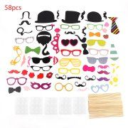 2017 New 58PCS/Set Unique Colorful Props On A Stick Mustache Photo Booth Party Fun Wedding Christmas Birthday Party Decoration