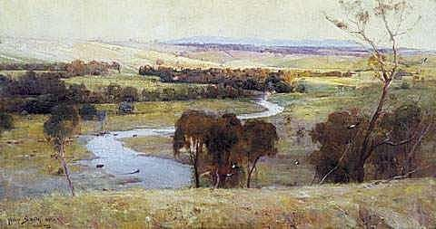 Artist's Footsteps STILL GLIDES THE STREAM AND SHALL FOREVER GLIDE, 1890 oil on canvas 82.0 x 153.0 cm Purchased, 1890 Collection: The Art Gallery of New South Wales