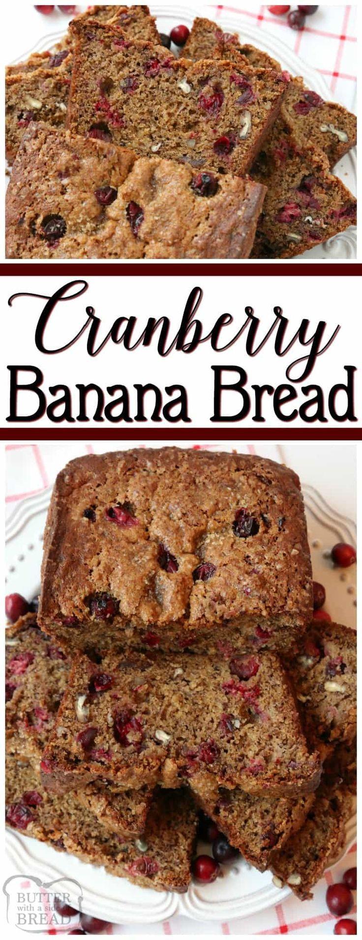 Cranberry Banana Bread. #Thanksgiving #Christmas #breakfast