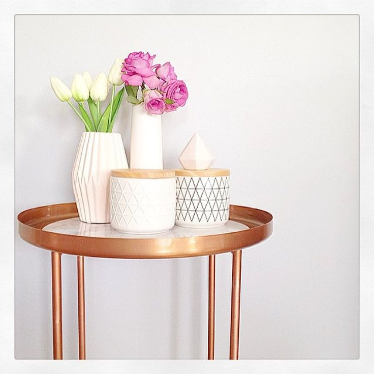 Kmart Australia Copper Manhattan side table w marble placemat.