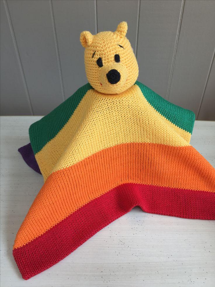 Pride Rainbow Pooh bear Lovey www.thebabyblanketlady.com