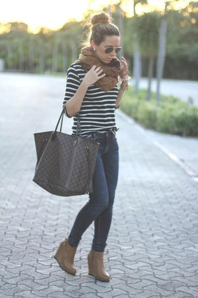 striped white and black sweater, dark skinny jeans, brown chunky scarf, booties - fall / winter