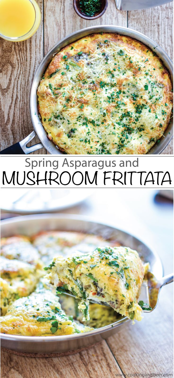 Spring Asparagus and Mushroom Frittata Recipe: a must-have for this year's Easter brunch menu! | www.cookingandbeer.com