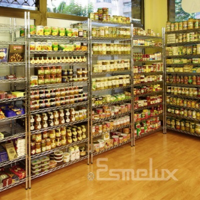 Ideal para comercios, tiendas de regalo, boutiques de moda... ya que además de almacenar, decoran.   http://www.esmelux.com/estanter%C3%ADas-acero-cromado?dn=1