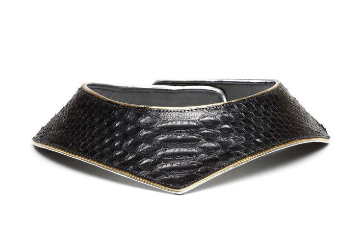 Daniel Havillio leather bib necklace. Juno necklace in python skin. Leather Jewelry. www.danielhavillio.com
