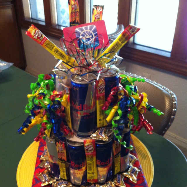 Red Bull, Slim Jim, Snickers Cake! The perfect gift for the workaholic :-)