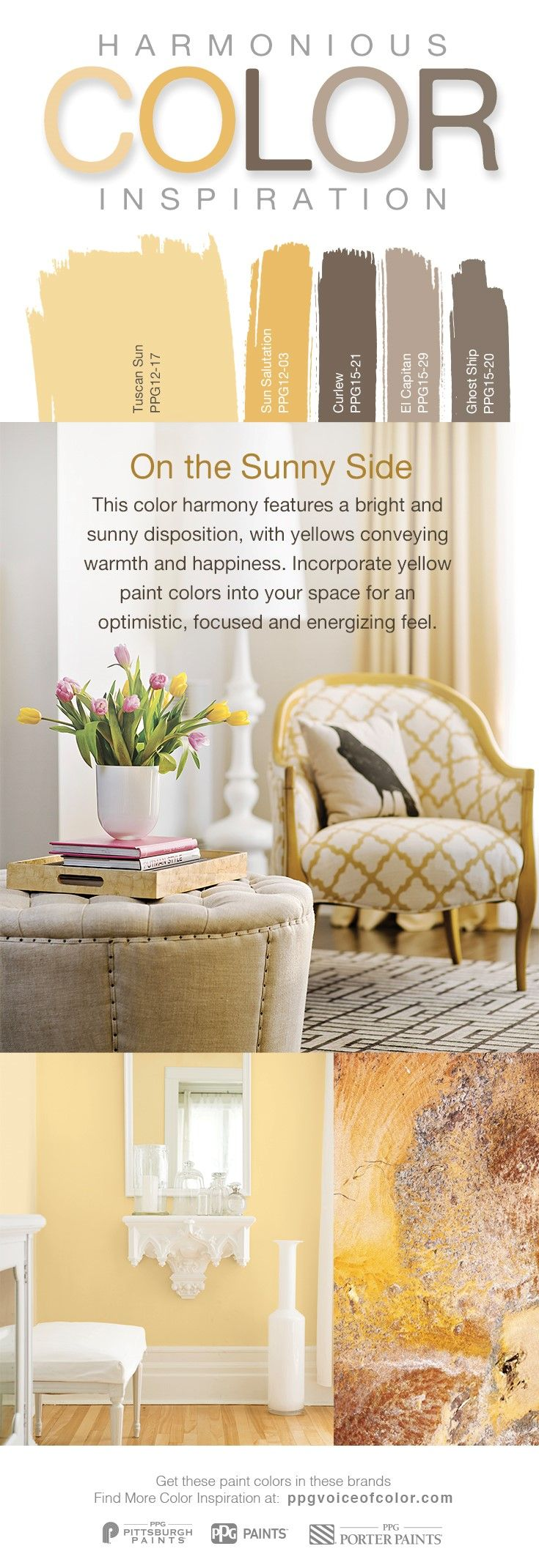 """Find our favorite yellow hues in the """"On the Sunny Side"""" paint color collection. This color harmony features a bright and sunny disposition, with yellows conveying warmth and happiness. Incorporate yellow paint colors into your space for an optimistic, focused and energizing feel."""