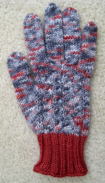 """Cabled Gloves designed in Holiday Yarns """"embers"""".  Very toasty.  http://www.ravelry.com/patterns/library/gift-knits-gloves"""