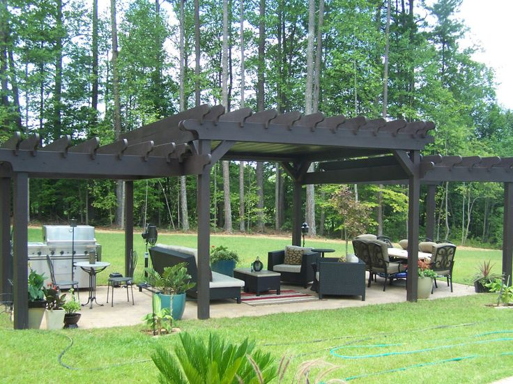 3 Tiered Pergola With Tin Roof Outdoor Space Outdoor