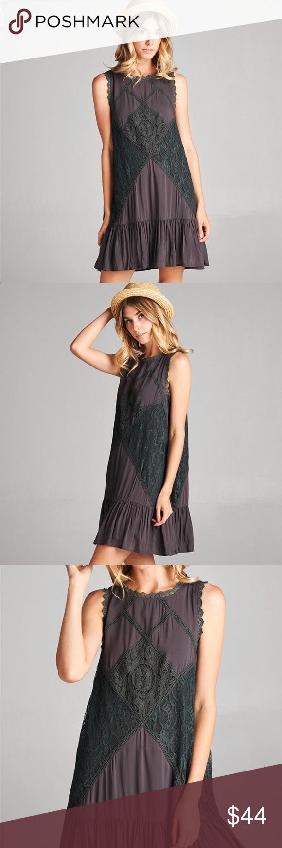 The Brisa Dress The Brisa Dress is a Round neck, sleeveless A-line dress with contrast lace trim and a ruffled trumpet skirt.  Plum/Brown in color. Owl About Happy Dresses