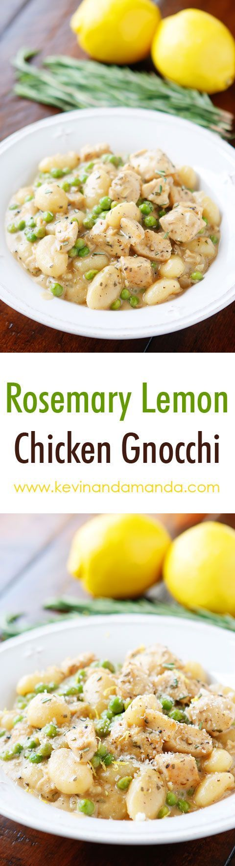 Rosemary Lemon Chicken Gnocchi - Garlic chicken and toasted potato gnocchi in a rosemary lemon cream sauce. Great for easy weeknight dinners AND impressing guests.