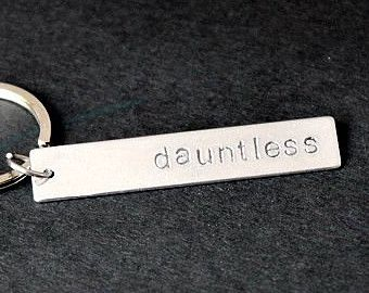 Dauntless Keychain, Hand Stamped Keychain, Geeky Keychain, Geeky Gifts, Inspirational Keyring, Stocking Stuffer, Gifts Under 15