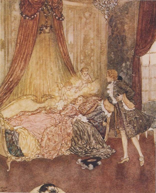 Sleeping Beauty by Edmund Dulac, from Classic Princesses by E. Nesbit, illustrated by Edmund Dulac.