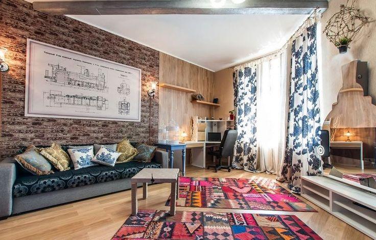 восточные ковры в интерьересовременного лофта с элементами индастриал