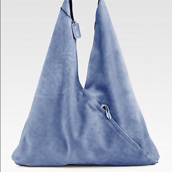 """Used once. Brand new. Perfect condition. NWT Maison Martin Margiela MM6 Envelope Triangle Hobo  Color: BLUE  100% AUTHENTIC & BRAND NEW  $495 retail  This sleek and modern style in supple leather is the perfect carryall.  Shoulder strap, 14½"""" drop   Magnetic snap closure   One outside zip pocket   One inside open pocket   Fully lined   21""""W X 27""""H X 1""""D   Made in Italy Maison Martin Margiela Bags"""