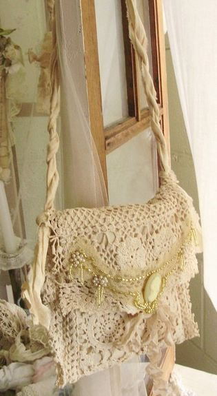 tattered chic. This is great! Now if I can just find my old crochet bags!