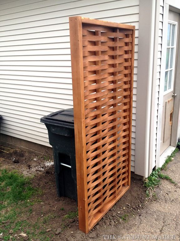 Hide Ugly Garbage Or Recycling Bins With A Woven Wood