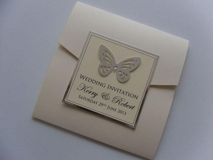 Luxury Handmade Pocketfold Butterfly Wedding Invitation Sample with RSVP
