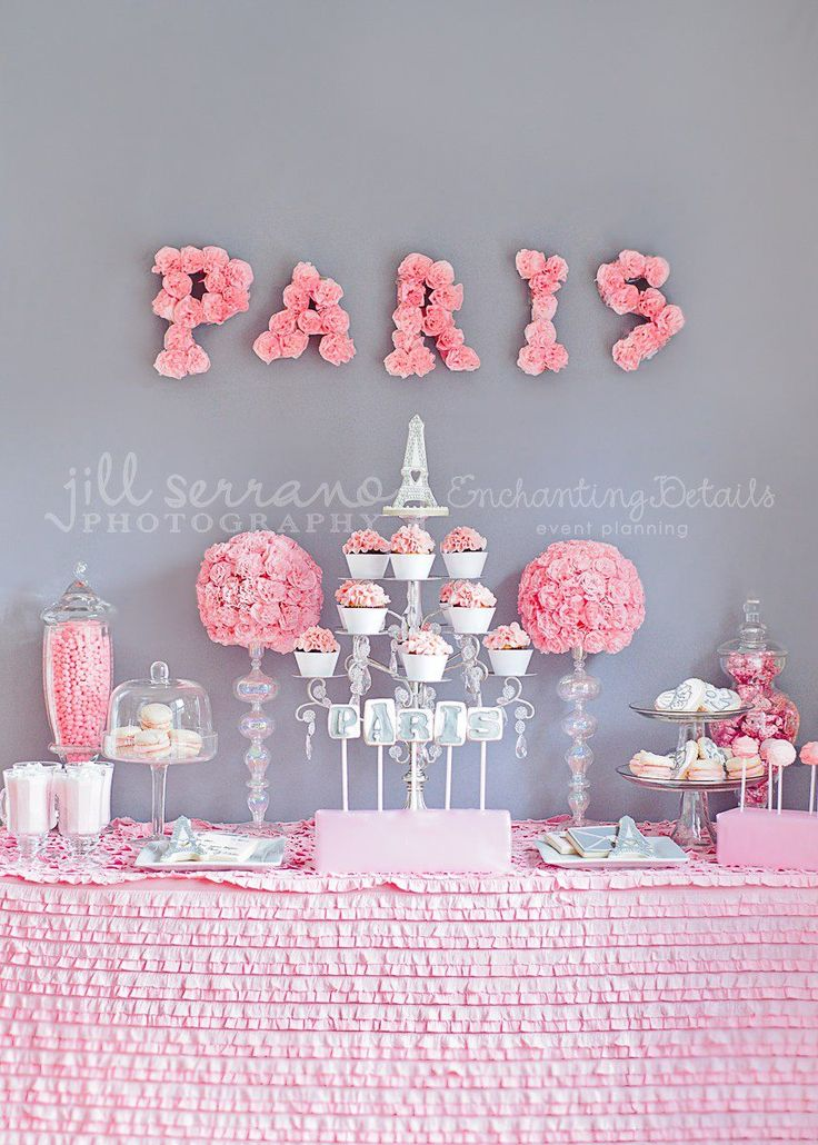 Candleabra turned cup cake holder. Cute for Paris or Shabby Chic themed party.