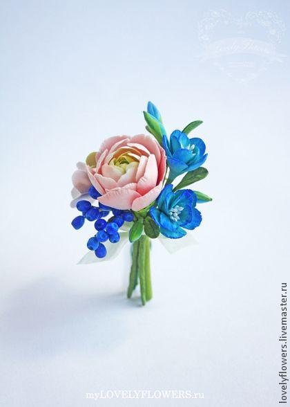 Бутоньерка-брошь с ранункулюсом - цветы ручной работы,цветы из полимерной глины
