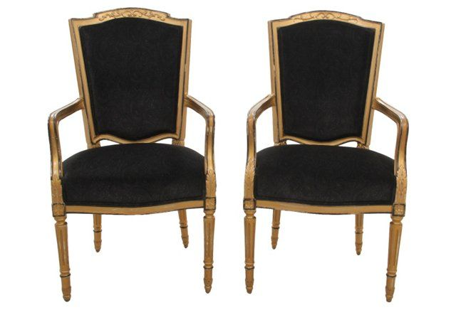 French Empire Fauteuils, Pair
