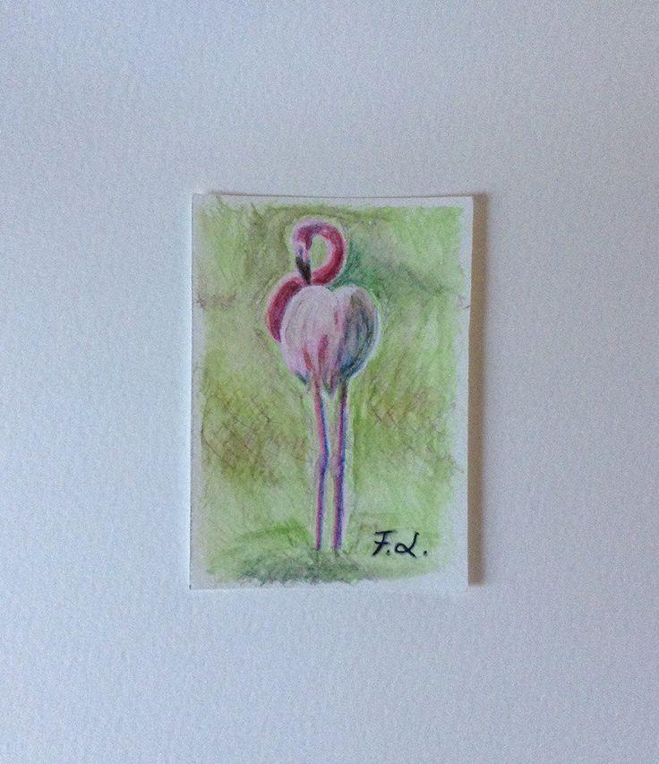 Aceo n. 28 - fenicottero, by Francesca Licchelli Arte, 10,00 € su misshobby.com