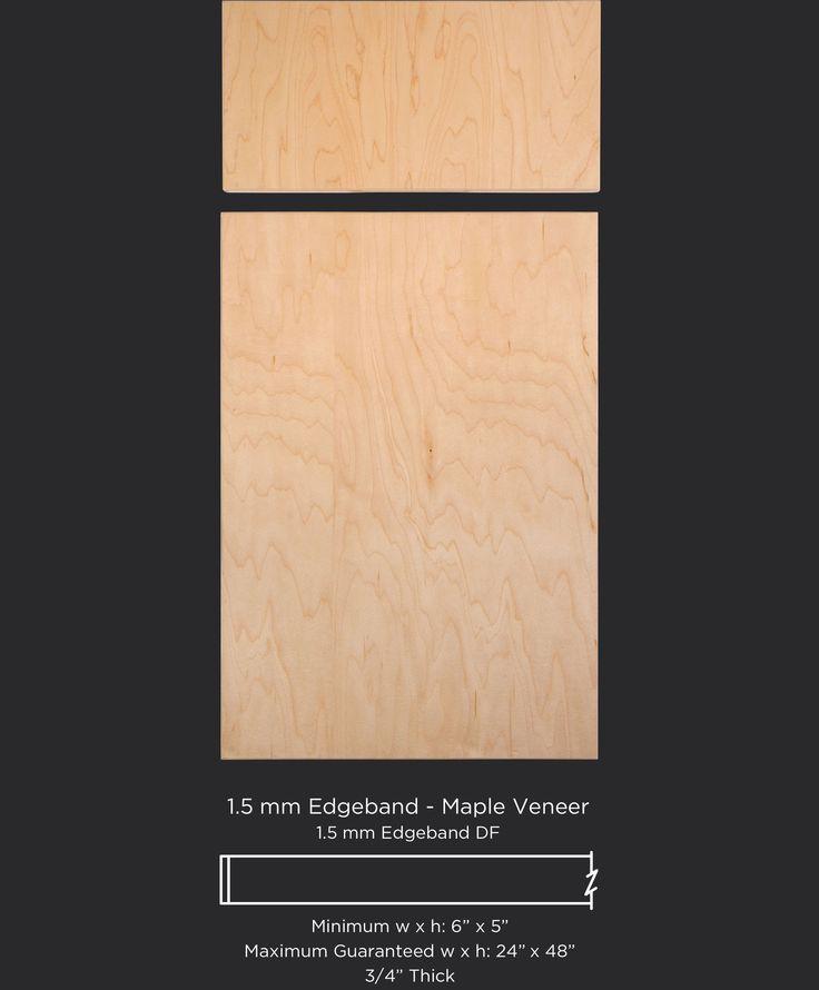 Modern slab veneer edgebanded cabinet door in Select Maple by TaylorCraft Cabinet Door Company
